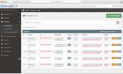 IP NetworX dashboard