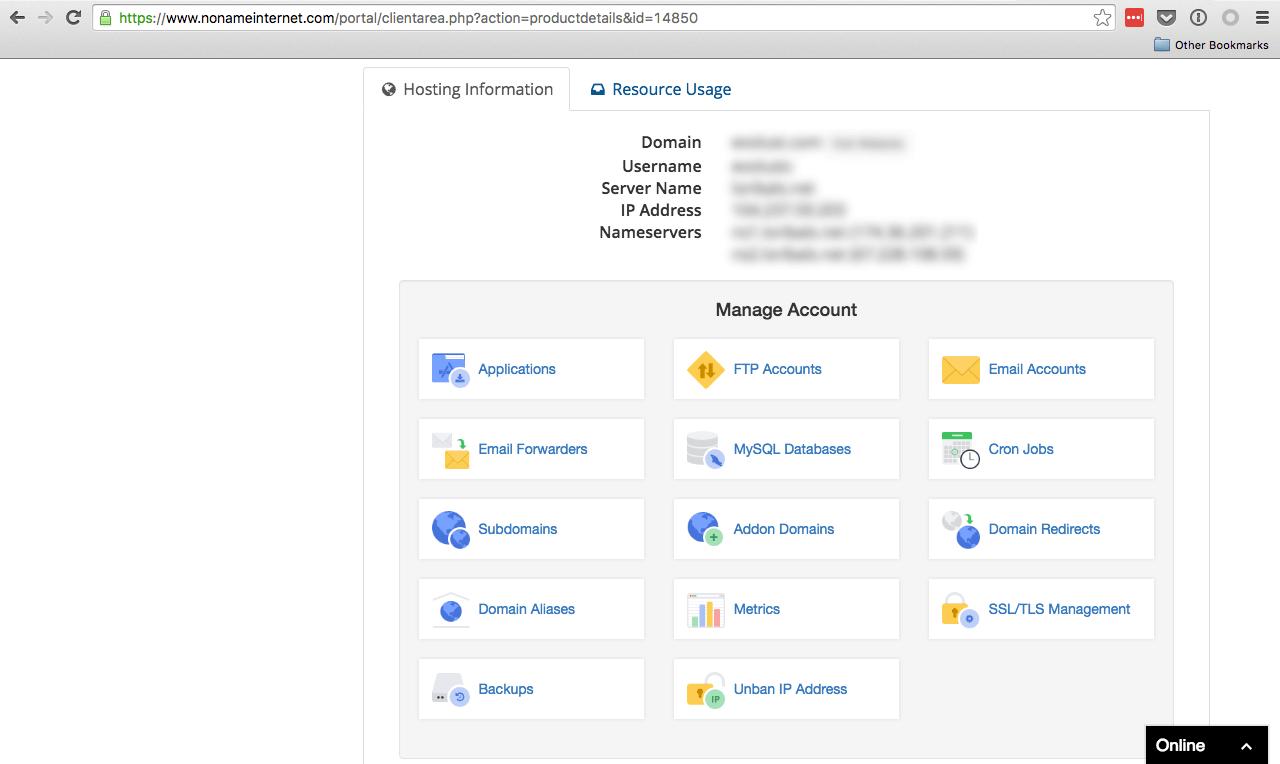 NoNameInternet hosting