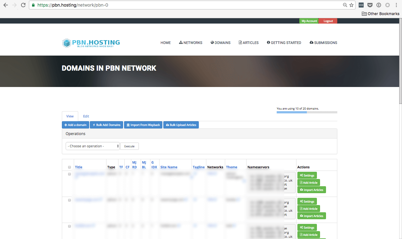 PBN.Hosting dashboard