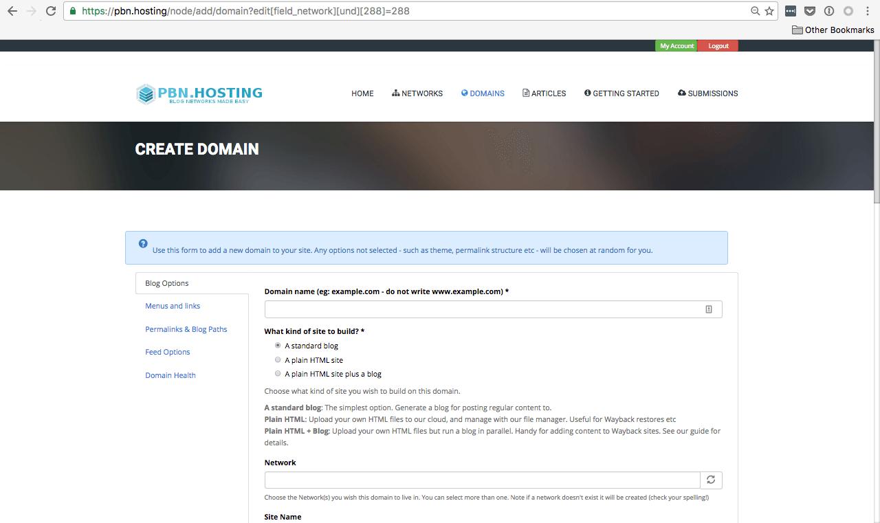 PBN.Hosting domain view
